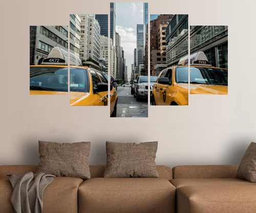 Five Panel Split Canvas Framed Prints - New York Yellow Taxi's