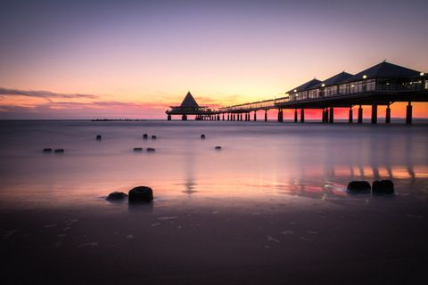 Seascape Canvas Framed Wall Art - Last Light Pier
