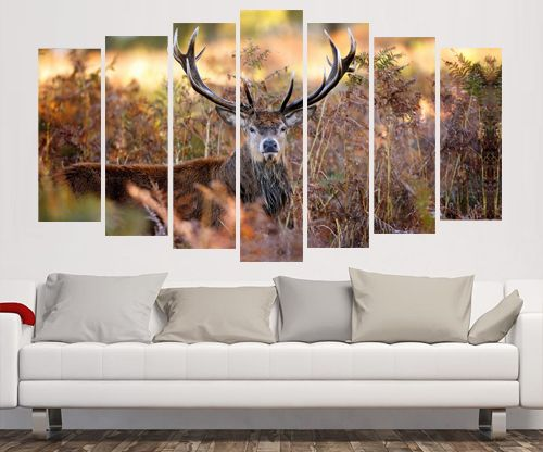 Seven Panel Split Canvas Framed Prints - The Stag