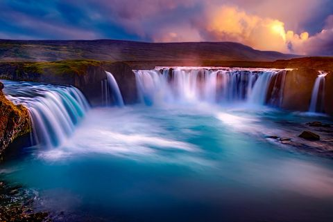 Waterfall Framed Canvas Wall Art - Iceland  Falls at Dawn
