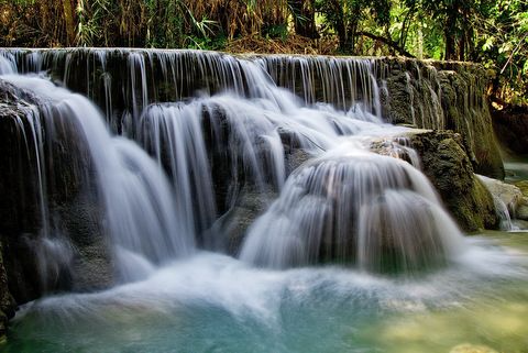 Waterfall Framed Canvas Wall Art -  Kuang Si Falls