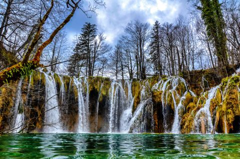 Waterfall Framed Canvas Wall Art - Plitvice